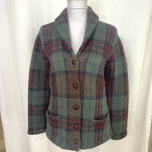 Lauren Ralph Lauren Sweater Coat Plaid Green Red M